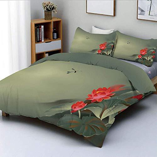 Set copripiumino, pittura tradizionale giapponese con fiori di loto in toni opachi Design asiatico decorativo Set di 3 pezzi decorativo con 2 fodere per cuscini, verde reseda rosso, formica Gif Easy C
