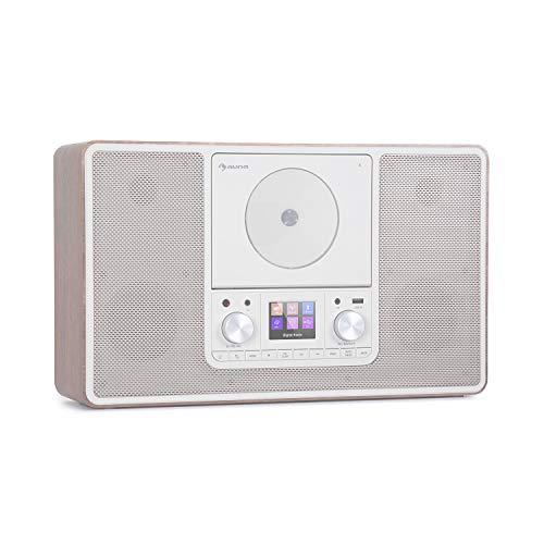 auna Scala VCD - Radio Digital, Sintonizador Dab/Dab+, Receptor FM, Bluetooth, Reproductor CD, Puerto USB, AUX, 2 x 10 W RMS, Posible Montaje en Pared, Pantalla TFT 2,4'', Luz LED, Marrón Claro