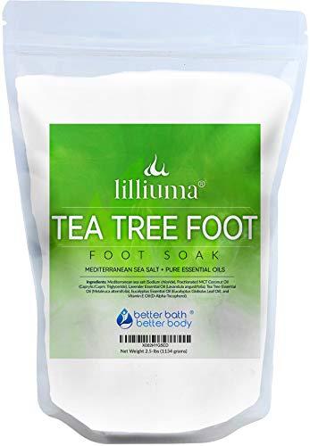 New Tea Tree Foot Soak 40 Ounces Mediterranean Sea Salt with Lavender, Tea Tree, and Eucalyptus Essential Oils, Natural Ingredients