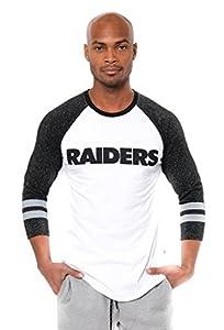 Ultra Game NFL Las Vegas Raiders Mens Raglan Baseball 3/4 Long Sleeve Tee Shirt, White, X-Large from Icer Brands