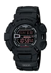 Shock-resistant sport watch featuring auto LED backlight, 5 alarms, hourly time signal, flash alert, 1/100 sec stopwatch, countdown timer, full auto calendar, and 12/24 hour formats 52 mm resin case with mineral dial window Quartz movement with digit...