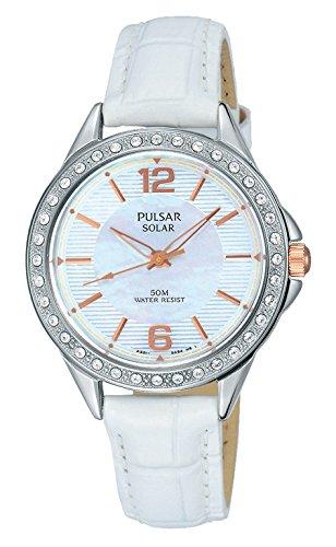 Pulsar Damen Analog Quarz Uhr mit Leder Armband PY5013X1