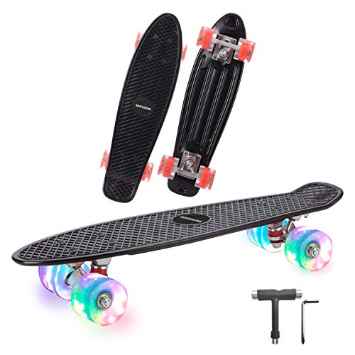 Complete 22 Inch Mini Cruiser Skateboard for Beginner with Sturdy Deck and Light Up Wheels Black