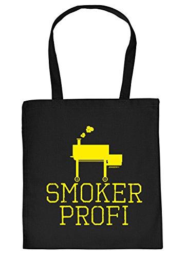 Stofftasche mit Grill Motiv - Smoker Profi - Einkaufstasche, Geschenk, Grilltasche, Umhngetasche - schwarz