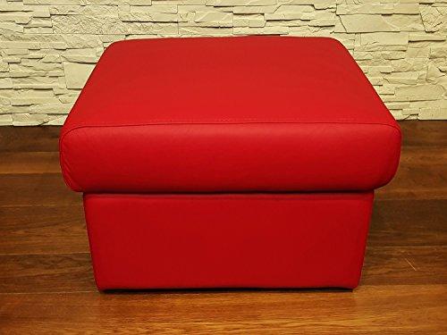 Rot Echtleder Hocker Sitzhocker Rindsleder Sitzwürfel 60x55 Fußhocker Polsterhocker Echt Leder Puff