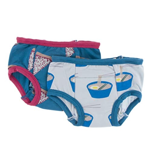 KicKee Pants Training Pants Underwear Set, Soft Printed Underwear for Potty Training, Set of 2, Boy and Girl (Seaport Pizza Slices & Illusion Blue Ramen - 3T-4T)