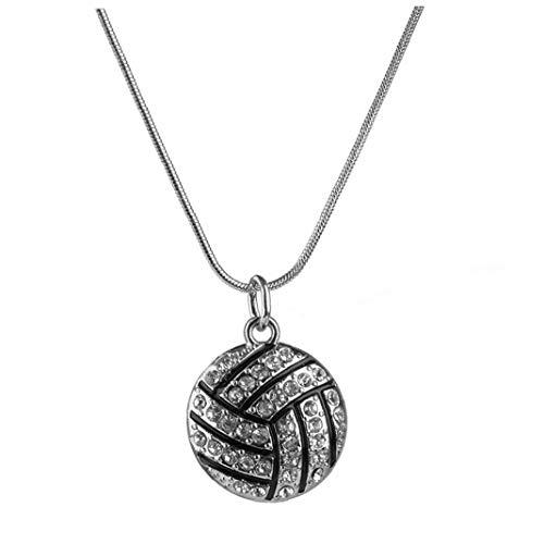 Naicasy Exquisite Volleyball-Anhänger-Halskette Rhinestone-Kristall Sport Schmuck Chic-Schlange-Ketten-Halskette für Frau Mädchen (Schwarz-Silber)
