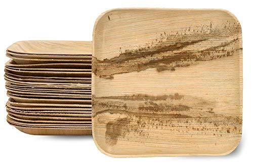 Einwegteller aus Palmblatt - Flaches, Quadratisches Partygeschirr 26 cm – 100% Bio Areka-Palmblattgeschirr ideal für Picknicks, Grillfeste, Gartenpartys – Teller 25 Stück
