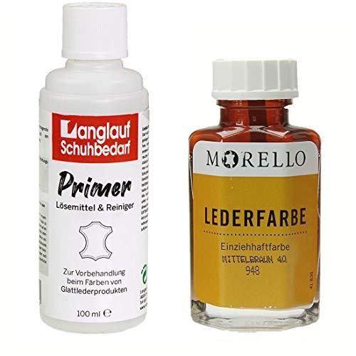 Morello Lederfarbe 40ml zum umfärben von Taschen Schuhen und Anderen Lederprodukten + 100ml acetonfreier Primer Lederreiniger von Langlauf Schuhbedarf … (mittelbraun)