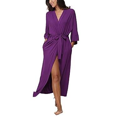 FADSHOW Women's Soft Long Sleepwear Modal Cotton Wrap Robe Bathrobe NightGown Purple,Medium