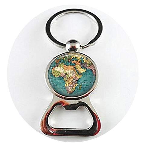 bab Schlüsselanhänger mit Weltkarte und Geographie, Schlüsselanhänger, Flaschenöffner, englischsprachige Aufschrift