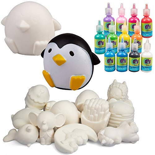 DIY Jumbo 4-6' Blank Squishies (12pc) & Fabric Paint (12 Bottles) Combo Pack- White Kawaii Slow Rising Squishy Toys for Drawing, Painting, Decorating - Soft & Scented Stress Relief Craft