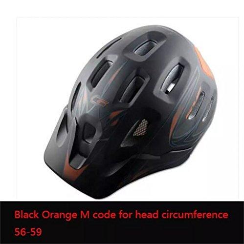 Haiying Casque de vélo de montagne sur leur propre casque de vélo de route Bouillotte Entièrement moulée et dotée d'aération pour homme et femme L noir/orange