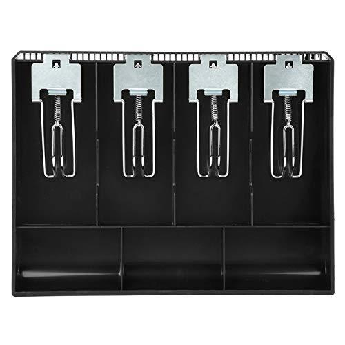 Bandeja de repuesto para cajón de efectivo, 4 cajas con clip de metal con 3 colores adecuados para supermercado, tienda y hotel (negro)