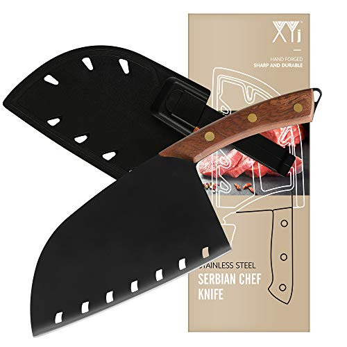 XYJ Meat Cleaver 3CR13 Stainless Steel Serbian Chef Knife Butcher Knife Full Tang Kitchen Knife with Plastic Carrying Knife Edge Guard for Camping Hunting Outdoor Survival