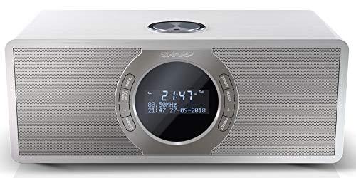 SHARP DR-S460(WH) Radio Estereo Despertador con sintonizador Dab, Dab+, FM, Bluetooth 4.2, Entrada Aux 3,5mm, Potencia Maxima 30W, Pantalla LCD, Carcasa de Madera y Panel Frontal de Acero Inox