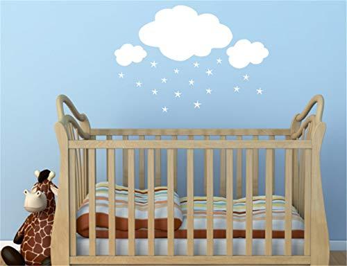 stickers muraux bebe juju et compagnie Mur d'étoiles de nuages blancs pour chambres d'enfants