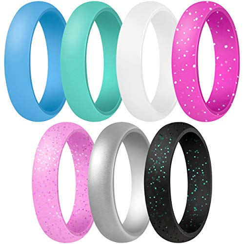 ThunderFit Women's Silicone Wedding Ring - Rubber Wedding Band - 5.5mm Wide, 2mm Thick (Light Blue, Teal, White, Pink with Glitter, Light Pink with Glitter, Silver, Black with Teal Glitter - Size 8.5-9 (18.9mm))