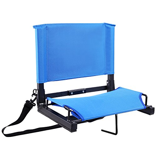Ohuhu Stadium Chairs/Stadium Seats Bleacher Seats with Bungee Cord Cushion and Comfortable Backrest, Blue