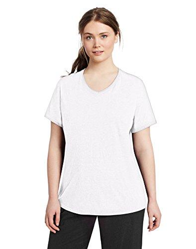 Champion Vapor® Women's Plus Jersey V-Neck Tee 4XL White