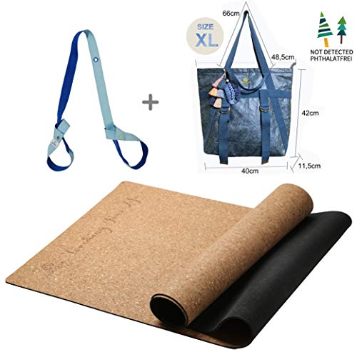 GOLDEN® Kork Yogamatte / Yogamatte aus Kork und Kautschuk, Rutschfest / Fitnessmatte / Sportmatte für zuhause,...