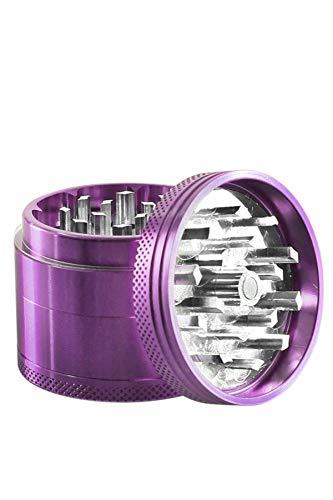 Heisenberg Color-Crush - Aluminum Grinder Kräutermühle und Crusher für Tabak, Kräuter, Pollen - 4 teilig - Ø 5cm - Höhe 4 cm - Gewürzmühle mit Magnet-Deckel - Lila