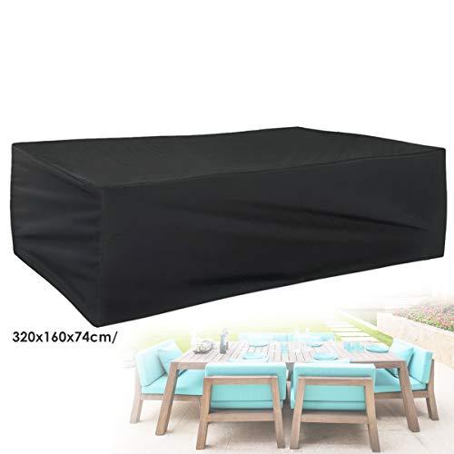 Oxford-beschermhoes voor tuintafel en stoelen, met uv-bescherming, keuze uit verschillende afmetingen, rechthoekige en ronde vorm 320x160x74cm