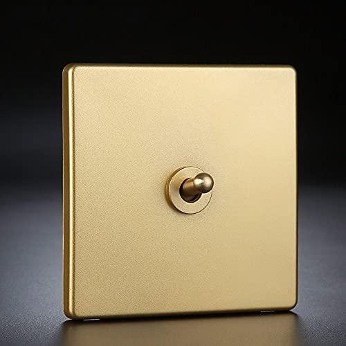 Modeen Panel De Interruptores De Tipo 86 Interruptor De Pared para El Hogar Interruptor De Palanca Dorada 1-4 Gang Interruptor De Lámpara De Control Doble Simple De 2 Vías Interruptor De Decoración