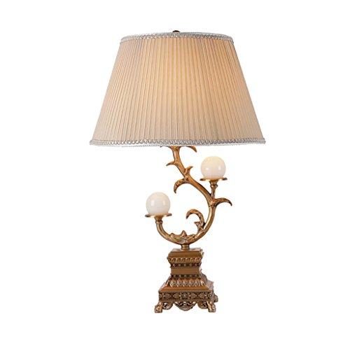 HTDZDX Lámpara de mesa de cobre retro, estudio de sala de estar, dormitorio de lujo, lámpara de escritorio decorativa de lujo, lámpara de mesa antigua, luces de mesa grandes, 15.7x25.6in