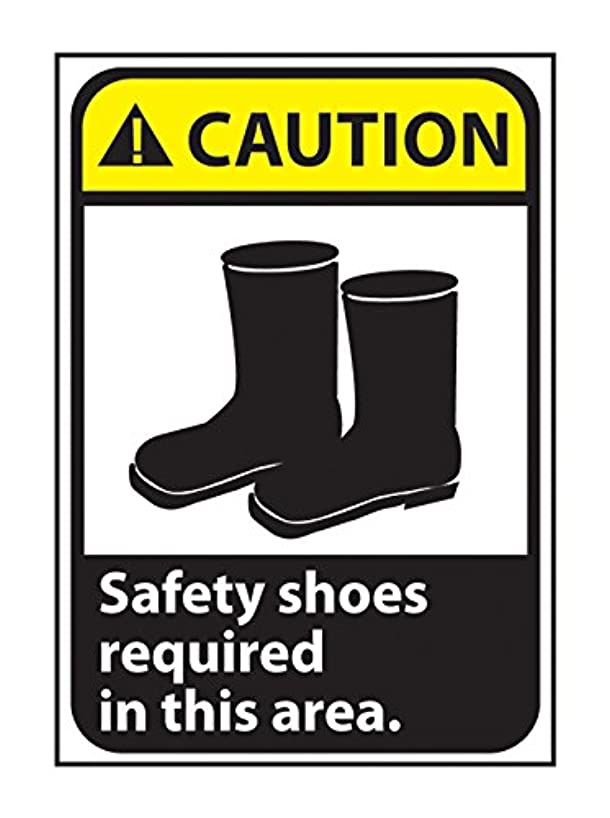Gilson CGA9RB Safety Shoes Required Area Caution Sign, Rigid Plastic, 14' x 10'