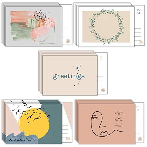 BLATT PAPIER® | 20x Premium Grußkarten (matt) – Made in Germany – DIN A6 Postkarten Set mit weicher Beschichtung vorne – moderne Grußkarten – 20er Grußkarten Set – ideal zu beschreiben