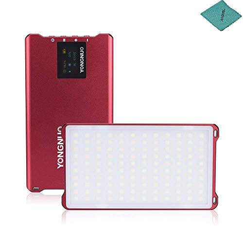 Yongnuo YN125 Mini LED Video luz del LED con 3200 K-5600 K Temperatura de Color Ajustable para Canon Nikon DSLR DV cámara y videocámara, Rojo
