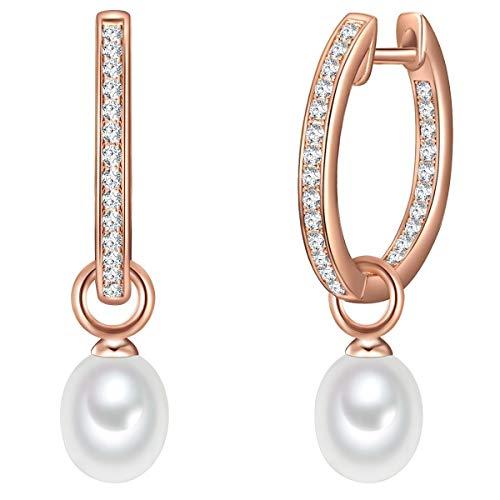 Valero Pearls Damen-Creolen Sterling Silber 925 rosévergoldet Süßwasser-Zuchtperlen weiß - Ohrhänger für Frauen in Roségold-Farben mit Süßwasser-perle
