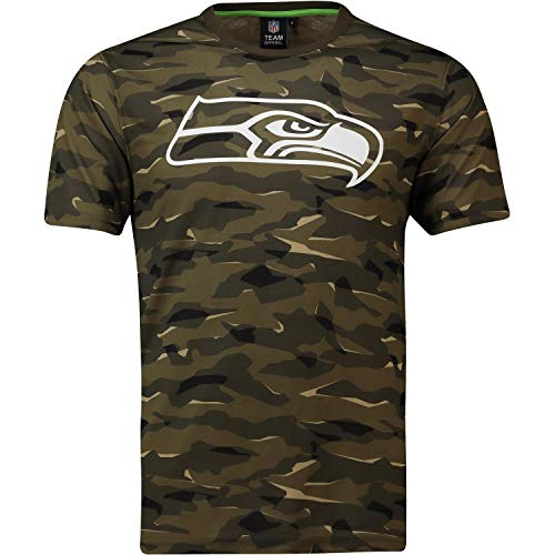 Majestic Athletic NFL Football T-Shirt Seattle Seahawks Logo Tee T Camo Camouflage (L)