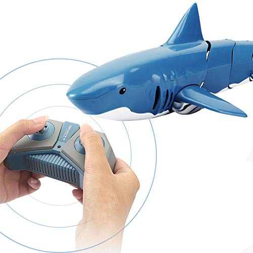 Ailejia RC Shark Boat 2.4G Remote Control Electric Racing Boat Electric Racing Shark Animal for Swimming Pool Bathroom Toy Best Gifts for Adults & Kids (It Must be Used on Water)