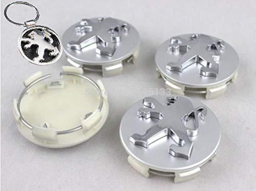 datex-bm Set 4 Caps Nabenkappe Kompatible Radkappe 60mm mit Schlüsselring in Tribute 108 206 207 208 307 308 508 3008 Traveller Alufelgen