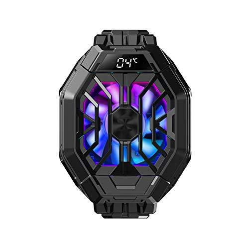 Apobob Black Shark 2 Pro - Enfriador de teléfono con temperatura de visualización, radiador para disipador de calor de 6,7 a 8,8 cm, iOS/Android, ventilador de refrigeración en 1 segundo teléfono para juegos (negro, 2 Pro)