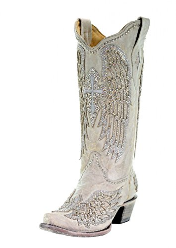CORRAL Women's Cross & Wings Cowgirl Boots - White - White - 10 - M