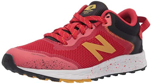 New Balance Kid's Fresh Foam Arishi Trail V1 Lace-Up Running Shoe, Toro Red/Black/Varsity Gold, 1.5 M US Little Kid