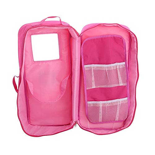 HUHU833 Cute Travel Case Suitcase Storage Bag Wardrobe For 18 inch Fashion American Girl Doll-- Not Include Dolls (Pink)