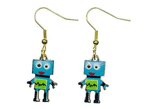 Miniblings Pendientes robots hechos a mano I máquina mecánica científica ordenador metal azul dorado – pendientes pendientes chapados en oro