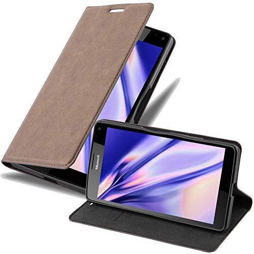 Cadorabo Hülle für Nokia Lumia 950 XL in Kaffee BRAUN - Handyhülle mit Magnetverschluss, Standfunktion und Kartenfach - Case Cover Schutzhülle Etui Tasche Book Klapp Style