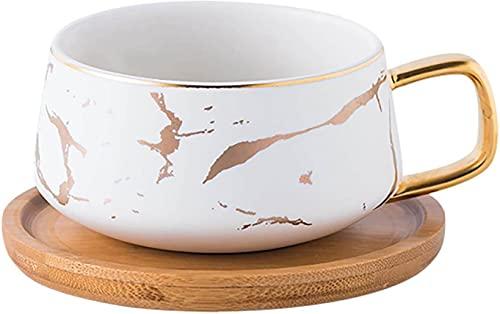 TELANKS 2 Stücke Espressotassen, 300 ml Cappuccino Tassen Set, Marmor Kaffeetasse mit Untertasse, Porzellan, 2 Tasse, 2 Untertasse, 2 Löffel, Weiß