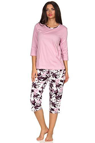 Wunderbarer Damen Capri Pyjama Schlafanzug Kurzarm, Übergrössen, Farbe:rosa, Größe2:40/42
