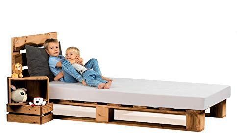 sunnypillow Palettenbett mit Kopfteil 80 90 100 120 140 160 180 200 220 240 x 200 cm Eiche Massivholzbett Bett aus Paletten Palettenmöbel Naturholz Fichte europalette...
