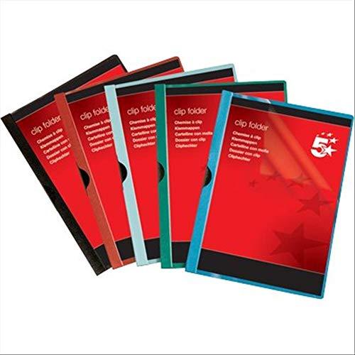 5 Star 356424 - Pack de 25 dossier clip PVC A4, capacidad 60 hojas, color negro