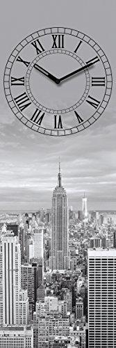 Wanduhr aus Glas, New York Time, Skyline, grau, 20x60 cm von Eurographics
