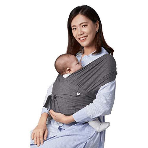 【ママリ口コミ大賞受賞】コニー抱っこ紐 (Konny) スリング 新生児から20kg 収納袋付き 国際安全認証取得 ぐっすり抱っこひも (チャコール) (XS)