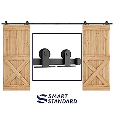 """SMARTSTANDARD 12 FT Top Mount Double Sliding Barn Door Hardware Kit -Super Smoothly and Quietly -Simple and Easy to Install -Includes Step-by-Step Instruction -Fit 30"""" Wide Door Panel(T Shape Hanger)"""