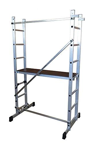 ALTIPESA Escalera - andamio Profesional de Aluminio 2x7 peldaños Multiusos